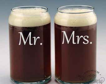 Mr. and Mrs. Beer Can Glasses Engraved, Personalized Wedding Gift, Custom Wedding Glassware, Gift for the Couple - Set of 2