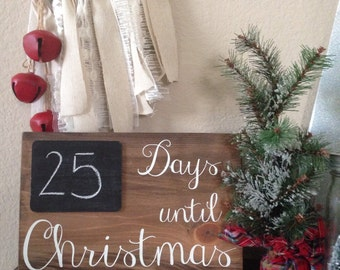 Days until Christmas Countdown board sign - Days til Christmas countdown sign - Chalkboard countdown sign - Christmas decor countdown