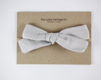 Hand Tied Hair Bow 100% Linen Large Schoolgirl in Grey // Clip or Band