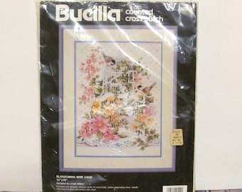 """Bucilla Counted Cross Stitch """"Blossoming Bird Cage"""" Kit"""