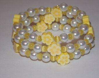 Girls Yellow Flower White Pearl and Yellow Cats Eye Wrap Bracelet