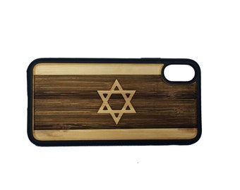 Israel Flag iPhone Case Cover for iPhone X by iMakeTheCase Bamboo Wood + TPU Wrapped Edges Jewish Religious Symbol Israeli Star of David