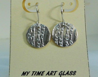 Fine Silver Round Patterned Earrings