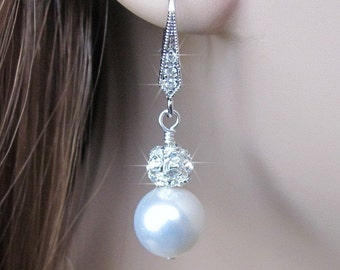 Bridesmaid Earrings with Cubic Zirconia, CZ and Pearl Earrings, Rhinestone, Pearl and Cubic Zirconia Earrings in White or Ivory Bridal Party