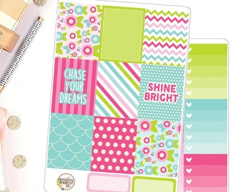 Bright Spring Florals Weekly Kit for use in Erin Condren Vertical Life Planner Deluxe Weekly Kit
