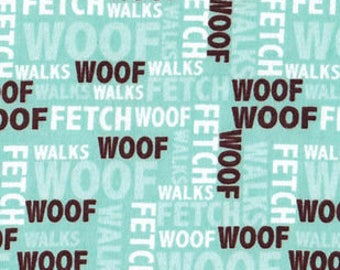 Snuggle Flannel Prints - Woof Words - 30 inches