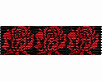 3 Red Roses Peyote Bead Pattern, Bracelet Cuff, Bookmark Seed Beading Pattern Miyuki Delica Size 11 Beads - PDF Instant Download