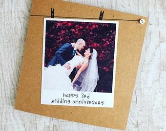 Handmade Personalised Card, Anniversary, Polaroid Photograph, Recycled Kraft or Grey Card