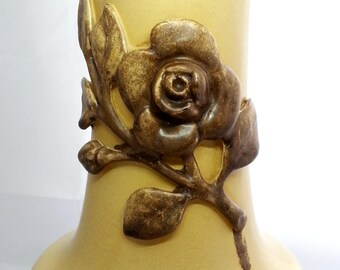 Red Wing Rumrill Pottery, Rare Yellow Georgia Rose Group Vase, 196 Medallion Line, Home Decor