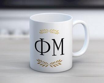 Phi Mu Letters Mug Sorority Coffee Mug