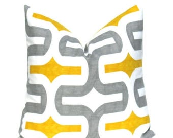 15% Off Sale Yellow Gray Pillow  Grey Pillow Cover. Ikat. Decorative Throw Pillow covers. Set of TWO 18x18. cushion Cover Print both sides.A