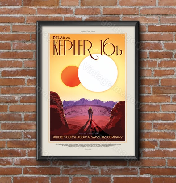 Kepler-16b 2016 Science Fiction Poster NASA/JPL Space Travel Poster Space Art Great Gift idea Kids Room Office man cave Wall Art Home Decor