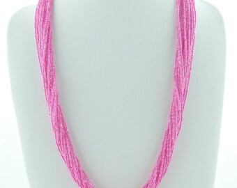Pink Seed Beaded Jewelry, Beaded Necklace Handmade, Unusual Necklace, Bib Statement Necklace
