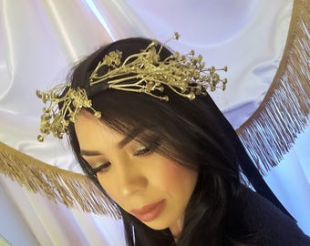 HELEN Gold Grecian Crown Black Ribbon Band with Gold Floral Pieces