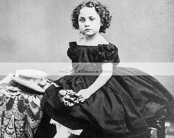 Printable Download Instant Art Image - Victorian Child Little Girl Curly Hair Antique Photograph - Paper Crafts Altered Art Scrapbooking