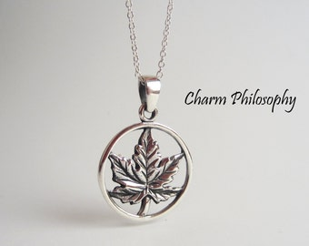 Maple Leaf Necklace - 925 Sterling Silver - Toronto Maple Leafs Inspired Jewelry - Canadian Jewelry