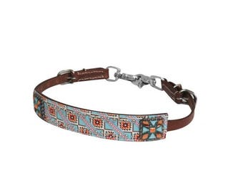 Navajo Bling Leather Wither Strap Rodeo Barrel Racing Pole Bending Trail Riding Horse Tack Equine