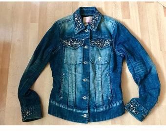 Parasuco stonewashed studded denim jean jacket women's size small