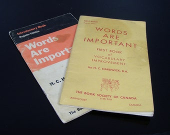 Vintage Words Are Important - First Book of Vocabulary Improvement Wookbooks