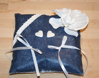 wedding, Navy Blue wedding ring cushion and white Orchid