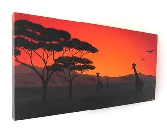 African Sunset original acrylic landscape painting (UK only) - plains of Africa silhouette art with red orange sky, giraffe artwork