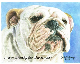 English Bulldog Christmas cards in full color