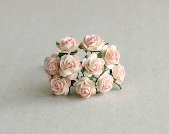15mm Mini Peach Paper Flowers - 10 mulberry paper roses with wire stems [4529]