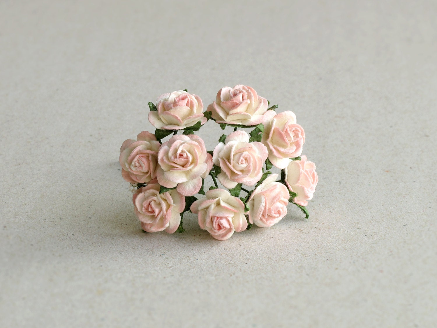 15mm Mini Peach Paper Flowers 10 Mulberry Paper Roses With