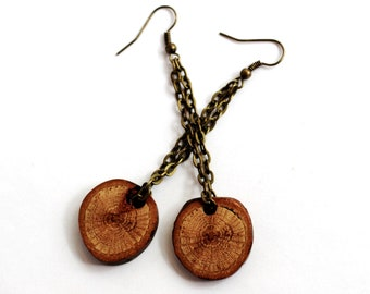 Wooden Dangle Earrings Reclaimed Wood Eco-Friendly Oak Brass Jewelry by Hendywood