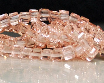 20 pcs 4mm Faceted Transparent Pink Glass Cube Beads PC
