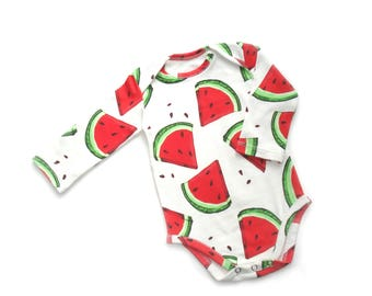 Watermelon Bodysuit Organic baby clothes baby bodysuit organic Bodysuit Long sleeve short sleeve Baby newborn baby boy shirt