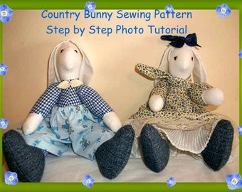 Country Bunny Family Sewing Pattern, Step by Step Photo Tutorial, pattern dresses for him & her, sew your own soft Bunnies for decoration.