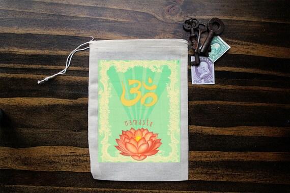 Namaste Muslin Bag - Art Bag - Pouch - Gift Bag - 5x7 bag - Party Favor - Crystal Pouch