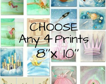 Choose any 4 Art Prints of my shop, Set of Four Prints  8''x10'' , Nursery Decor, Kids room Decor, Nursery Wall Art, Children room Decor