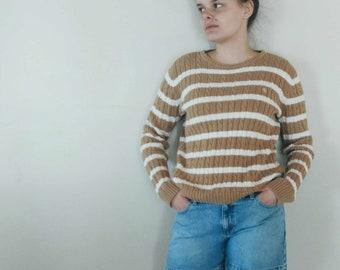 Vintage Ralph Lauren Striped Sweater Tan, Brown, White Stripes Size Large Cotton Medium Weight Preppy Sweater Beach Sailing Active Wear