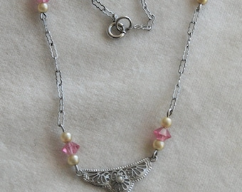 Little Girl's Antique Pink Necklace