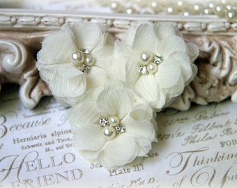 Ivory Chiffon Flowers with Pearls and Rhinestone Center, for Headbands, Clothing, Sashes, Crafting,Set of 3, approx. 2 inches across, FL-169