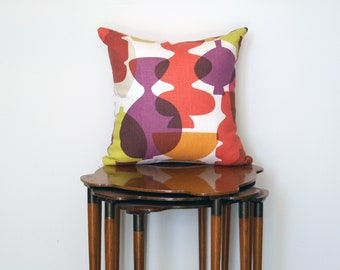 Graphic Abstract Print Pillow Cover, in Purple, Pink, Yellow + Green