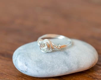 Sterling silver ring / Rosette silver wrap ring / Handmade ring / Wire wrapped ring / Rose gold ring/ Gold ring
