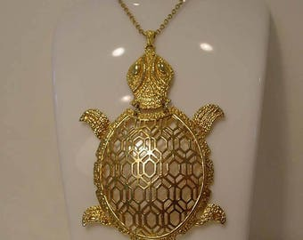 Large 1970s Gold Tone Statement Turtle Pendant