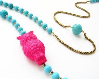 Collier hibou, perlage, magenta lucite hibou aqua bleu turquoise long collier de perles de Saint-Valentin bijoux vintage