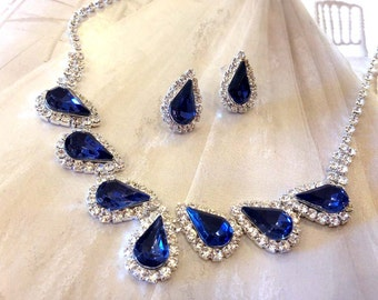 Wedding jewelry set ,bridesmaid jewelry set, Bridal necklace earrings, vintage inspired Navy blue rhinestone crystal jewelry set