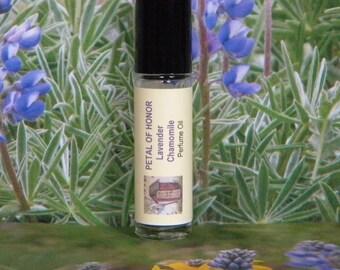 PETAL Of HONOR Natural Perfume Oil, Lavender Chamomile Perfume Oil. Aromatherapy Oil, Lavender Chamomile Roll On Cologne Oil Perfume Oil