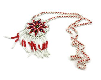 American Indian Beaded Necklace with Fringed Pendant Vintage Souvenir Glass Seed Beads Native American Indian Red white black