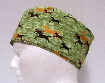 Mens Surgical Scrub Cap with Running Horses