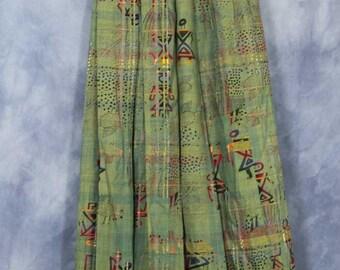 Vintage Green Geiger Skirt // Pleated A Line Skirt // Boho Bohemian Colorful Tribal Ethnic Primitive Design // Austrian Skirt // Size 36