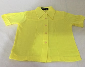 Vintage 70's 80's BOY'S FITTED SHIRT T-Shirt Pointy Collar Yellow Size 6 Yrs