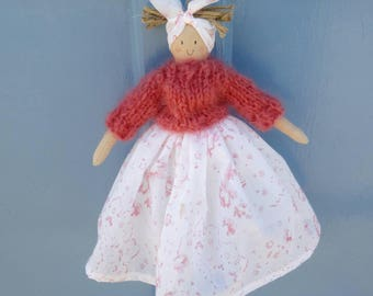 Handmade doll with a cabbages and roses skirt and mohair jumper
