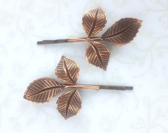 Copper Leaf Bobby Pin Set of 2,Hair Pin, Rustic Bridesmaid Gift, Garden Wedding Fall Hair Pins, Woodland, Bridal, Forest, Dance, Prom