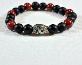 women bracelet red Jasper onyx Buddha bracelet